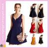 Usager occidental sans bretelles de modèle de couleur pleine une ligne robe de soirée