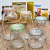 Fles Van uitstekende kwaliteit van het Glas van de Opslag van het Voedsel van het Deksel van de Klem van het Bamboe van de fabriek de In het groot (100044)