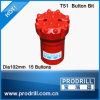T51-102mm 15 Botão Bits Face Plana para perfuração de bits de rosca