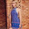 Платье Sundress краткости печати Boho шеи Halter женщин вскользь безрукавный, сексуальное Backless платье