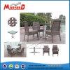 . Brown Rattan sintético de la moderna mesa de comedor con 4 sillas