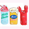 Carré 3D Cartoon Beer Crab Icecream Cheap Silicone Phone Cover