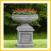 Marmorantikes Ende-Pflanzer-Steinpotentiometer u. Blumen-Vase