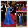 Платье вечера плеча Applique одного королевской сини шифоновое (XZ139)