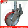 8 Zoll rote PU-Gestell-Schwenker-Fußrolle mit doppelter Bremse