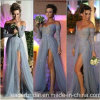 Silver Blue Party Dress do ombro Manga comprida Prom Evening Dress Z204
