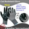 13G PE вязаные рукавицы с нитриловые гладкая бумага с покрытием для рук/ EN388: 4543