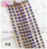 encadenamiento cristalino de costura cercano de oro del Rhinestone Strass del encadenamiento redondo de cadena de cadena de la taza de 3m m Ss12 (zafiro de TCG-3mm)