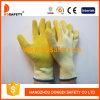 2017 Ddsafety Белый хлопок с покрытием из латекса желтого цвета оболочки рабочие перчатки