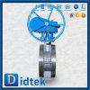 Didtek Offset Triple brida CF8m la válvula de mariposa fabricante de la caja de cambios
