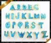 24 collares pendientes de Druzy de la ágata azul de la letra con el borde del oro (EF074)