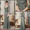 3/4 das luvas Lace Dark Sage Green A - linha Scoop Neckline Mother de The Bride Dress M71017