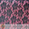 Tecido de renda preto de nylon com flor rosa (M0435)
