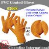 10g оранжевый полиэстер/акрилового волокна вязаные рукавицы с 2-оранжевый ПВХ покрытие Criss-Cross/ EN388: 124X