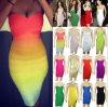 2015 Rainbow женщин мода дизайн Сарафан Bodycon порванный жгут платье (R121)