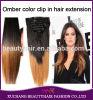 Clip brasileño triple dibujado doble de calidad superior de Ombre del pelo humano de la trama el 100% de la manera 7A 200g del pelo de la belleza en extensiones del pelo humano