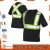Black High-Visibility Safety Warning T-shirt réfléchissant en coton et polyester