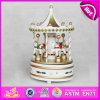 2015 Cheval Carrousel colorés Boîte à musique, commerce de gros bon marché Merry-Go-jouet en bois rond de la musique, commerce de gros CHEVAL CARROUSEL La Boîte à musique W07B010c