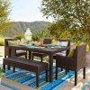 Pátio ao ar livre do Rattan da mobília do jardim de vime da resina que janta o jogo