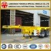 半2車軸7m 20FT容器の黄色の骨組トレーラー