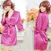 Сексуальные пижамы G-Шнура Nightdress женское бельё Sleepwear робы шнурка сатинировки женщин