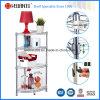 DIY 4 Tiers Chrome Metal Wire Corner rack prateleira para sala de estar