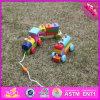 Игрушка поезда 2016 оптовая деревянная малышей, игрушка поезда малышей блока установленная деревянная, игрушка W05c043 поезда малышей верхнего способа деревянная