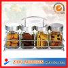 Contenitore di vetro della bottiglia della spezia impostato con la cremagliera del metallo