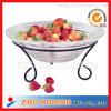 Fruit di vetro Bowl Plate con Iron Stand