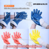 K-111光沢のある表面の綿のジャージーのニトリルの半分入ったコーティングの働く安全手袋