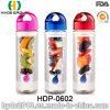 Bottiglia di acqua di plastica bella con il marchio personalizzato, bottiglia di acqua di plastica di BPA liberamente (HDP-0602) di Infuser della frutta fresca