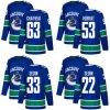 2018 Nova Marca Homens Mulheres Kid Vancouver Canucks 22 Daniel Sedin 53 Bo Horvat 33 Henrik Sedin 63 Jalen Chatfield qualquer nome personalizado azul & N. Hockey camisolas