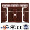 ブラウンカラー機密保護の金属の鋼鉄ドア(W-SD-06)の外の4 Doorleaf