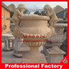 Flowerpot di pietra di marmo bianco/giallo di scultura