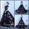 Robes de soirée d'usager de lacet de rose de noir de robe de bille de bal d'étudiants de flore d'impression Z1016