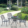 Patio esterno Furniture Metal Cast Aluminum Chair e Table Set Lattice Motif Style 4-Seating 5 Pieces Set
