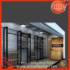 Cremalheiras e prateleiras contemporâneas da loja de roupa do metal para a loja