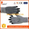 De halve Vinger Gloves Grijs Katoen of het Koord van de Polyester breit de Zwarte Punten van pvc Wtith Één Kant