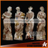 Marble rouge Carved Four Beautiful Women Statues pour le jardin
