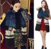 Media - maglia reale della pelliccia del cane di Raccoon delle donne lunghe di stile