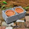 庭UseのためのGrey Colorの2 Flower Pot