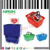 Cesta de compra plástica da mercearia com suporte da cesta
