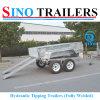 Gegalvaniseerde 12*6 Hydraulische Overhellende Aanhangwagen met Elektrische Rem