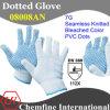 7g отбеленные полиэстер / хлопок трикотажные перчатки с голубой ПВХ точек / EN388: 112X