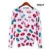 女性のリップパターン印刷のカーディガンのセーター