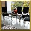 Les meubles modernes de salle à manger/meubles à la maison contemporains en métal pour la salle à manger/Tableau dinant en verre de Louis d'acier inoxydable ont placé avec des présidences de tissu de velours