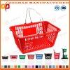 Cestas de compras portables del metal del supermercado doble colorido de la maneta (Zhb106)