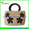 Handles plástico Wheat Straw Handbag con Beautiful Plastic Flowers