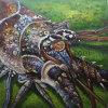 装飾のための手塗りの海洋生物のキャンバスの絵画イセエビの壁の芸術