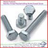 Boulon à tête hexagonale en acier galvanisé en acier au carbone DIN931/DIN933